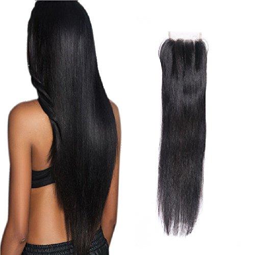 Wendy hair 8a brazilian straight hair lace closure 25,4cm lordo virgin capelli umani chiusura nero naturale da orecchio a orecchio 4x 4three part bleached knots