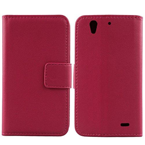 Gukas Design Echt Leder Tasche Für Huawei Ascend G630 Hülle Lederhülle Handyhülle Handy Flip Brieftasche mit Kartenfächer Schutz Protektiv Genuine Premium Case Cover Etui Skin (Rosa)