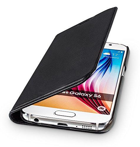 Schwarz Leder Tasche-tag (WIIUKA Echt Ledertasche - TRAVEL - für Samsung Galaxy S6 mit Kartenfach, extra Dünn, Tasche Schwarz, Leder Hülle kompatibel mit Samsung Galaxy S6)