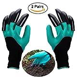 Opard Gartenhandschuhe 2-Paar Wasserdichte Garten Handschuhe Beide Hände mit Klauen