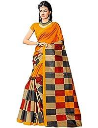 Indian Fashionista women's Bhagalpuri Cotton Saree with Blouse Piece (STM208_Orange)