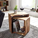 Corazzin Wood Sheesham Wood Bedside Table for Bedroom | Nesting Table | Cube Shape | Set of 2