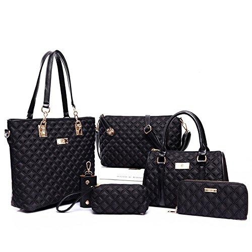 FavoMode Frauen Fashion Schwarz Handtaschen Crossbody Beutel Wallet Mobiltelefon Geldbeutel Schlüsselhalter 6 Stück Set (Stück Set Wallet 2)