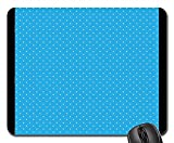 Rectangle Non-Slip Rubber Mouse Pad(9.45x7.8x0.12 inches) Polka White Dots Blue Background Dotted Small