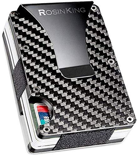 9667a72a97 Cartera de fibra de carbono Protección RFID Durable Cardholder Money Clip  Mini Multifunción