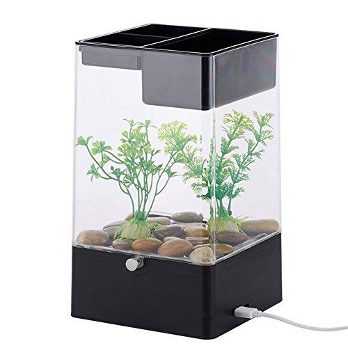 OMEM Portable USB Mini Aquarium, Das 5V Sicher Spannung Funny Aquarium mit Multi Farbe LED, die oberen können pflegen Pflanzen