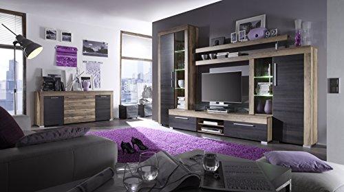 trendteam BM87259 Sideboard Wohnzimmerschrank Nussbaum-satin, Absetzungen dunkelbraun Touchwood Nachbildung, BxHxT 176x79x40 cm - 4