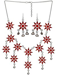 Jaipur Mart Alloy Silver Plated Red Color Necklace With Earrings (GSN769RED)