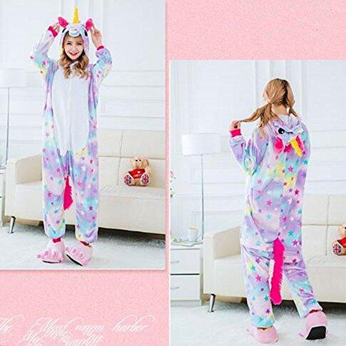 Süßes Einhorn Overalls Jumpsuits Pyjama Fleece Nachtwäsche Schlaflosigkeit Halloween Weihnachten Karneval Party Cosplay Kostüme für Unisex Kinder und Erwachsene (S, Stern Einhorn) - 8