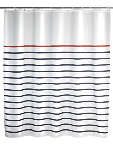 WENKO 20964100 Duschvorhang Marine White - waschbar, mit 12 Duschvorhangringen, 100 % Polyester, Mehrfarbig