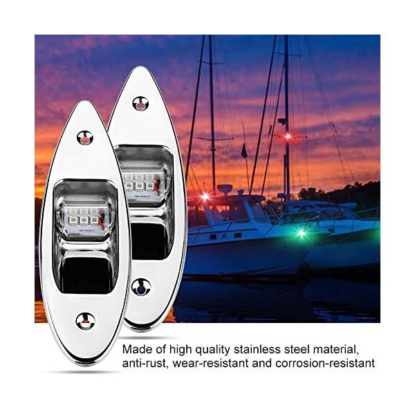 Fydun 12V LED Flush Mount Side Bow Navigation Signal Light 2Pcs 120° Lamp for Marine Boat Yacht Green 61.5lm&Red 19lm 3