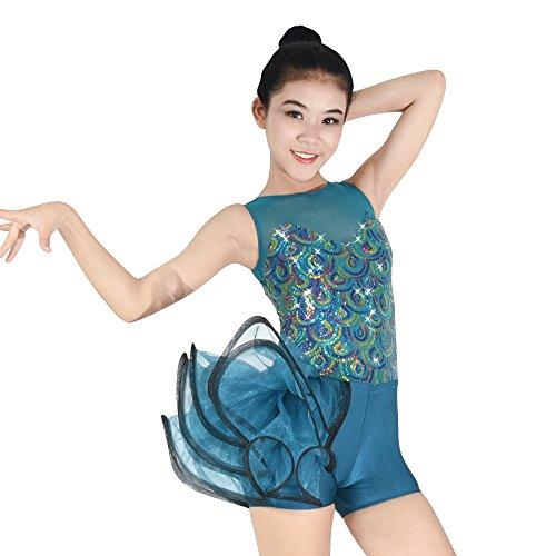 MiDee Tank Top Pavonine Paillettenbesetzte Tanz Outfits Ballett Kostüm (Türkis, LA)