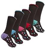 Cottonique Chaussettes De Coton Dames Riche avec coloré Orteils & Talons 4-8 - 5 Pack Tache Noire, 4-8