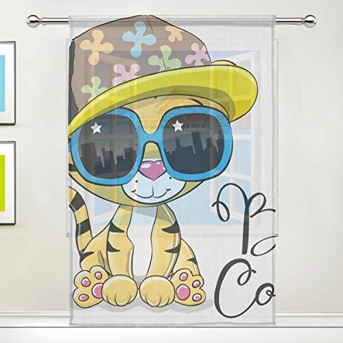 Gardine Schöne Baby Cartoon Tiger Voile Tüll Fenster Vorhänge, 1 Panel Set für Home Küche Schlafzimmer Wohnzimmer, 55 W X 84 L Zoll (84 Weiß Vorhang Schiere)