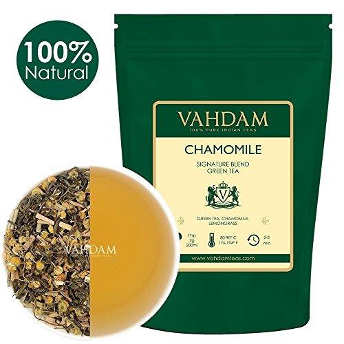 VAHDAM, Chamomile Green Tea, (100 Cups) 200g | STRONG ANTI-OXIDANTS | Loose Leaf Camomile Tea With Pure Green Tea Leaves | CALMING & RELAXING BEDTIME TEA, SLEEP TEA | Brew as Hot or Iced Tea