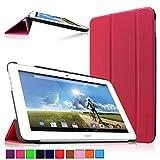 Infiland Acer Iconia Tab 10 A3-A20 Tablet Funda, Ultra Delgada Tri-Fold PU Cuero Smart Cascara para Acer Iconia Tab 10 A3-A20 25,65 cm (10,1 Pulgadas FHD) (A3-A20HD) Tablet-PC (Magenta)