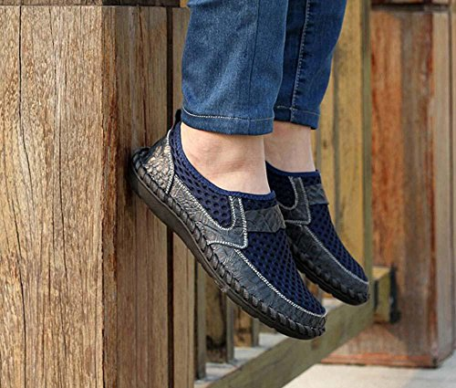 Pumpe Schlüpfen Loafer Netzgarn Mesh Sandalen Beiläufig Schuhe Männer Atmungsaktiv Hohl Krokodilmuster Pedal Schuhe Sneaker Fahrschuhe Lazy Schuhe Eu Größe 38-46 Blue
