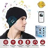 Jiamus Bluetooth Mütze, Wireless Smart Kopfhörer Premium Knit Cap mit Lautsprecher & Mikrofon, Unisex Headset Musical Cap für Outdoor-Sport