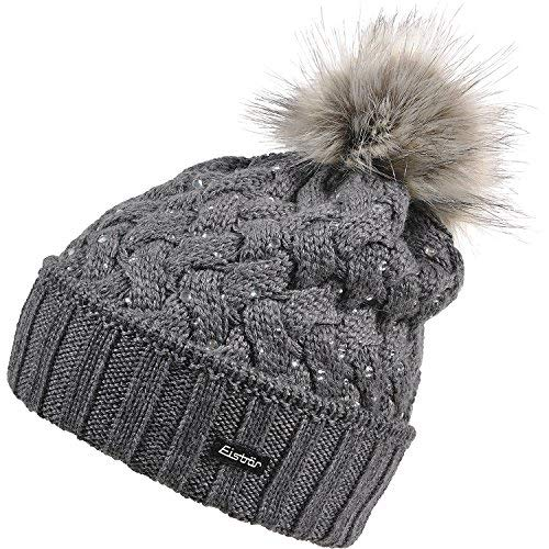 EISBAR ALICE LUX CRYSTAL MU Austrian Cable Knit Winter Ski Hat with Faux  Fur Pompom ( 241e8dee85ac