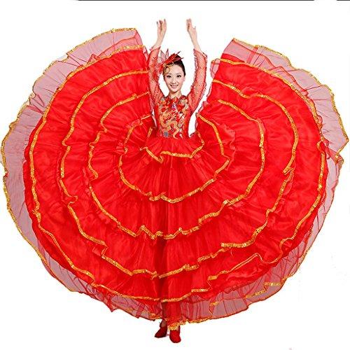 Wgwioo frauen flamenco kleid langer rock öffnung tanz blühende blüte big swing chorus moderne performance kostüme bühne praxis kleidung , red , (Girl Kostüm Chorus)