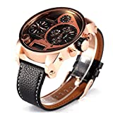 Yisuya 5,5cm Big Oulm 9316B Marken-Tag Designer Military Japan Armbanduhr Herren Sport Rosegold Uhr mit Geschenk-Box