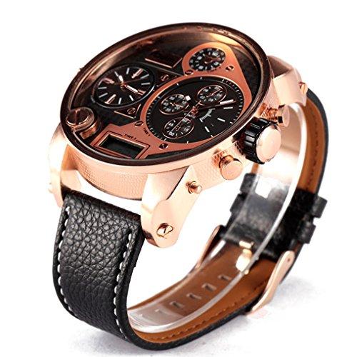 yisuya 5,5cm Big Oulm 9316b Marke Tag Designer Military Japan Bewegung Armbanduhr Herren Sport Stunden Rose Gold Uhr mit Geschenk-Box