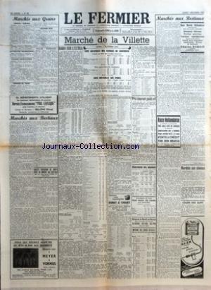 FERMIER (LE) [No 98] du 07/12/1953 - MARCHES AUX GRAINS - GRAINS - FARINES - BETTERAVES FOURRAGERES - GRAINES FOURRAGERES - POMMES DE TERRE - LEGUMES SECS - PAILLES-FOURRAGES - MARCHES AUX BESTIAUX - SOCIETE PARISIENNE DE CREDIT REGIE DU MARCHE AUX BESTIAUX - MARCHE DE LA VILLETTE - COTE OFFICIELLE DES ANIMAUX DE BOUCHERIE - COURS AU KILO NET COURS MOYEN - PRIX APPROXIMATIFS MOYENS - COTE OFFICIELLE DES PORCS - HARO SUR L'EXTRA PAR J L - GROS BETAIL - VEAUX - FACILE EN BONS DIFFICILE EN ORDINAI