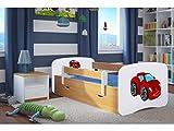 CARELLIA 'Bambino Auto Rosso 70cm x 140cm con Barriere di Sicurezza + Copriletto + Cassetti + Materasso offerto.–Chene Chiaro