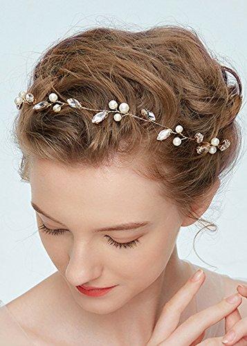 Kercisbeauty handgefertigtes Haarband im Vintage-Stil, für Hochzeit, Braut oder Blumenmädchen, Kristall-Blätter, Äste, Süßwasserperlen, Haarschmuck mit Schleife und Haarnadel