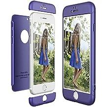 CE-Link Funda para Apple iPhone 6 6S Rigida 360 Grados Integral, Carcasa iPhone 6 Silicona Snap On Diseño Antigolpes Choque Absorción, iPhone 6S Case Bumper 3 en 1 Estructura - Azul
