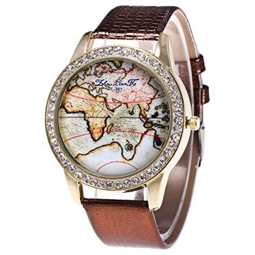 Damen Analog Quarz Uhr mit Leder Armband Herren Analog Uhr Dünn Elegant Luxusuhr Geschäft Braun Armband Kaffee