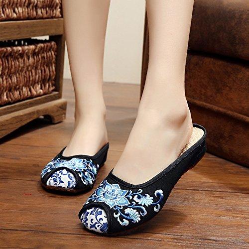 ZQ Blaues und weißes Porzellan Gestickte Schuhe, Sehnensohle, ethnischer Stil, weiblicher Flip Flop, Mode, bequem, Sandalen Black