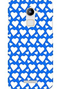 AMEZ designer printed 3d premium high quality back case cover for Coolpad Note 3 Lite (bright blue white hearts)