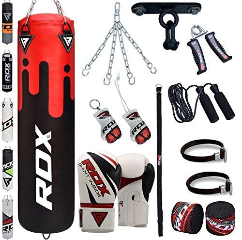 RDX Boxsack Set Gefüllt Kickboxen MMA Kampfsport Muay Thai Boxen mit Deckenhalterung Stahlkette Training Boxhandschuhe 13 PC Schwer 4FT 5FT Punching Bag (16-gauge-box)