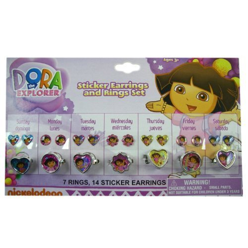Dora the Explorer Stick-on Earrings & Ring Set - Dora Sticker Earrings & Ring... by Nickelodeon