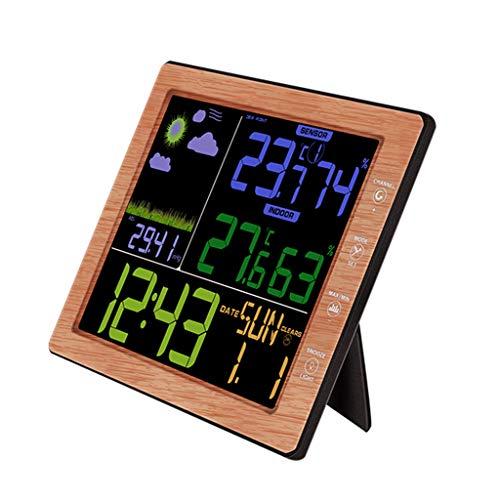 Hergon Bunt Funk-Wetterstation Hygrometer Wetterstationen, Vorhersage Temperatur Luftfeuchtigkeit Außensensor, LCD-Display (Holz)