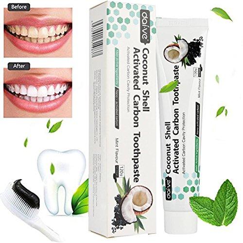 gaddrt Kokosnussschale aktiviert Holzkohle Zahnaufhellung Zahnpasta Natural Black Mint (Mischung Entzündungen)
