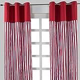 Homescapes dekorativer Vorhang Ösenvorhang Dekoschal Thick Stripes im 2er Set, rot weiß, 137 x 228 cm (Breite x Länge je Vorhang), 100% reine Baumwolle