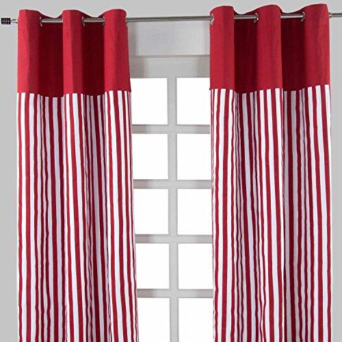Homescapes dekorativer Vorhang Ösenvorhang Dekoschal Thick Stripes im 2er Set, rot weiß, 137 x 228 cm (Breite x Länge je Vorhang), 100% reine Baumwolle (Streifen-polster-vorhänge-stoff)