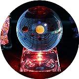 Solar Sistema bola cristal - bola de cristall Con la base de la lámpara del LED, claro 80mm Cristal Solar Sistema para decoración del hogar,decoracion oficina,decoracion para boda y bolas cristal navidad