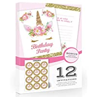 Olivia Samuel 12 x Unicorn Party Invitations with Stickers - Pink and Gold (Glitter effect print) - Includes Envelopes