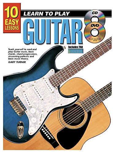 10 Easy Lessons: Learn To Play Guitar (Book/CD/DVD). Partitions, Livre, CD, DVD (Région 0) pour Guitare