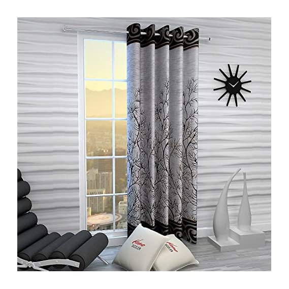 Home Sizzler Garden Panel Floral Eyelet Polyester Long Door Curtain