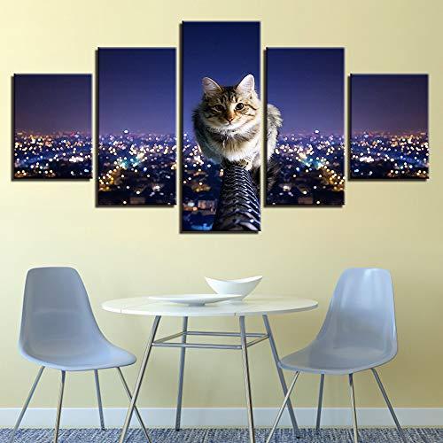 Immagine per Parete Arte modulare Decorazione per la casa 5 Pannelli Paesaggio per Gatti HD Stampato Poster Moderni su Tela