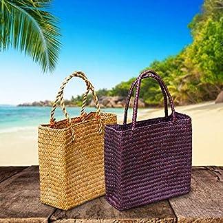 Sliveal Bolsa de Paja de Mimbre Tote Tejido a Mano Bolso De Paja De Mujer Grandes Bolsos de Mano de Compras para Viajes de Verano en la Playa, Viajes o Placer Trustworthy