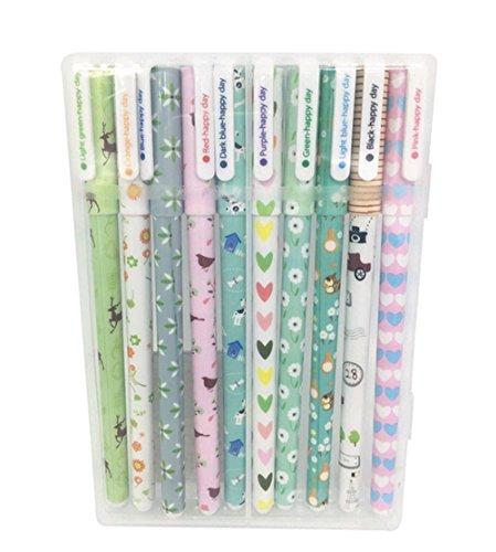 Westeng, penne roller a sfera con gel colorato, penne per scrittura a tratto fine, inchiostro pigmentato con colori assortiti, 10 pezzi