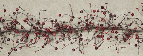 Garland - Country Berry Pips Burgundy Red - Primitive Rustic Twigs 4ft by (Primitive Twig)