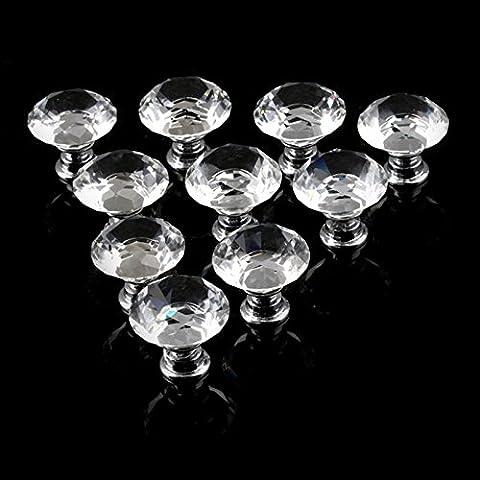 Lugii Cube Maison de cuisine de poignée de traction en verre cristal forme de diamant Cabinet Bouton Porte Tiroir Poignée de traction 30mm