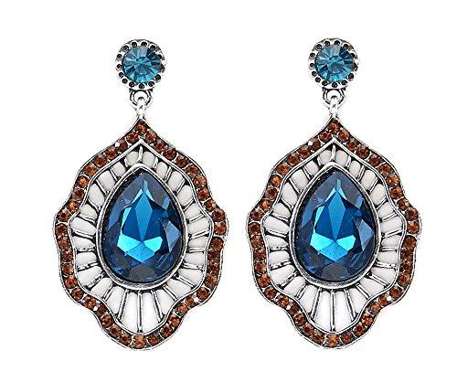 hrhänger mit blauem Glas Kristall Modeschmuck Damen Ohrringe (Designer Modeschmuck Sale)