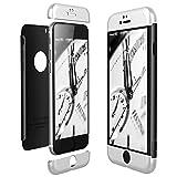 CE-Link für iPhone 6/iPhone 6s Hülle Hardcase 3 in 1 Handyhülle 360 Grad Full Body Schutz Schutzhülle Anti-Kratzer Bumper - Silber + Schwarz